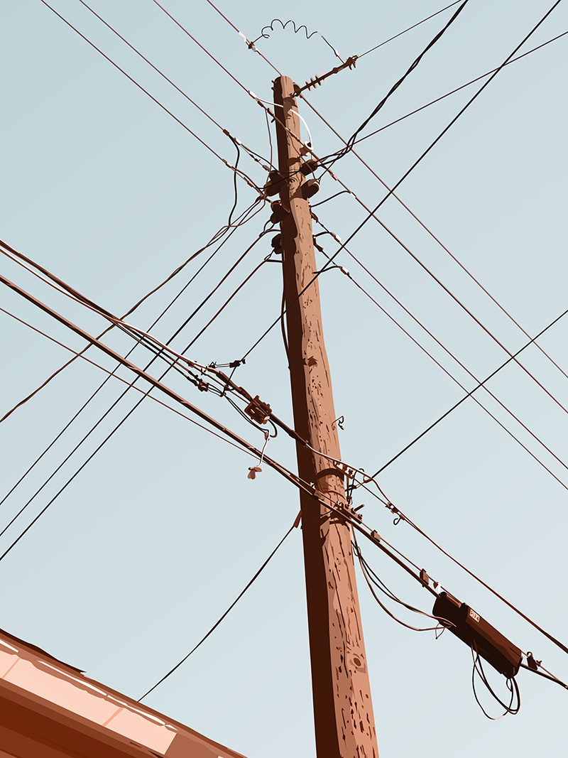 Telephone Pole - November - Art - by David Lange