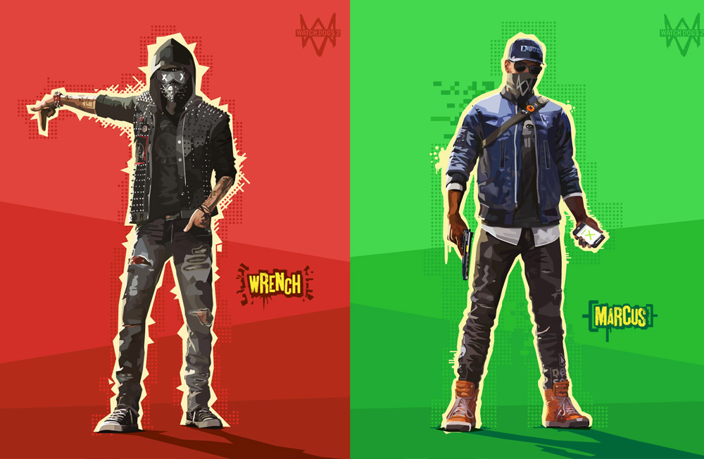 watch dogs fan art. Wrench and Marcus.